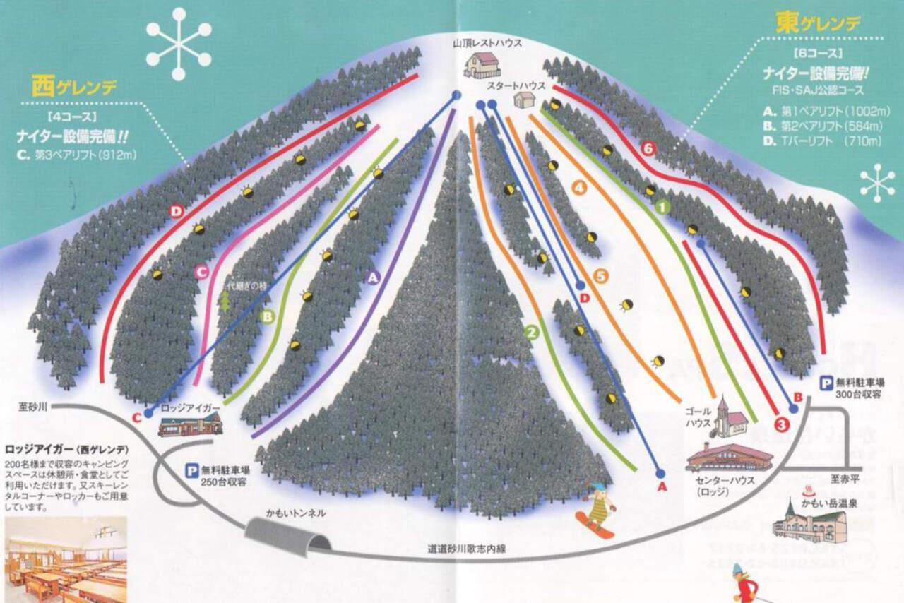 かもい岳スキー場のコースマップ