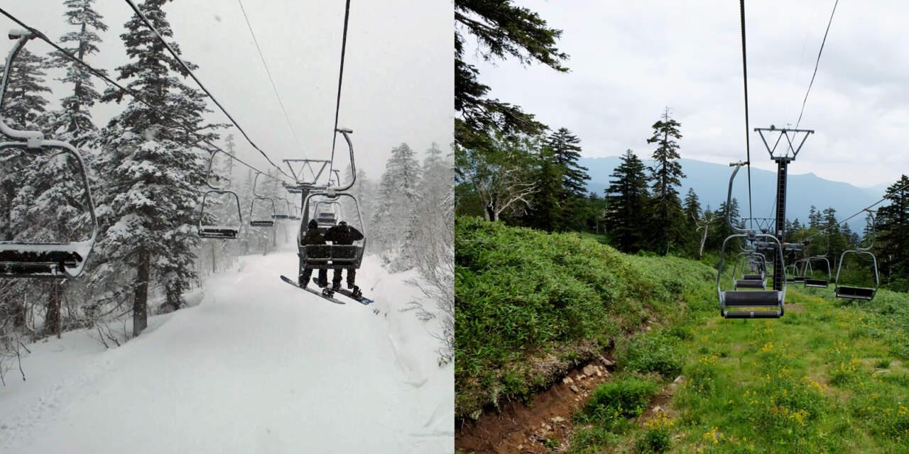 黒岳のリフト下、冬と夏の比較画像
